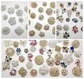 Mixed 30PCS Lot Rhinestone Crystal brooch button bridal wedding bouquet DIY