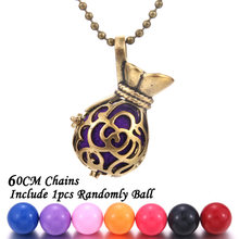New Arrivals Aromatherapy jewelry copper Money bag Aroma diffuser locket vintage Pregnant woman Pendant necklace with a ball(China)