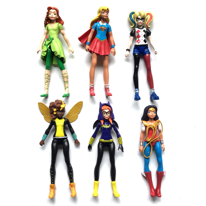 6pcs/lot 15cm Super Girls Wonder Woman Action Figures Cartoon Plastic PVC Dolls Birthday Toys for Children Kids Models Toys