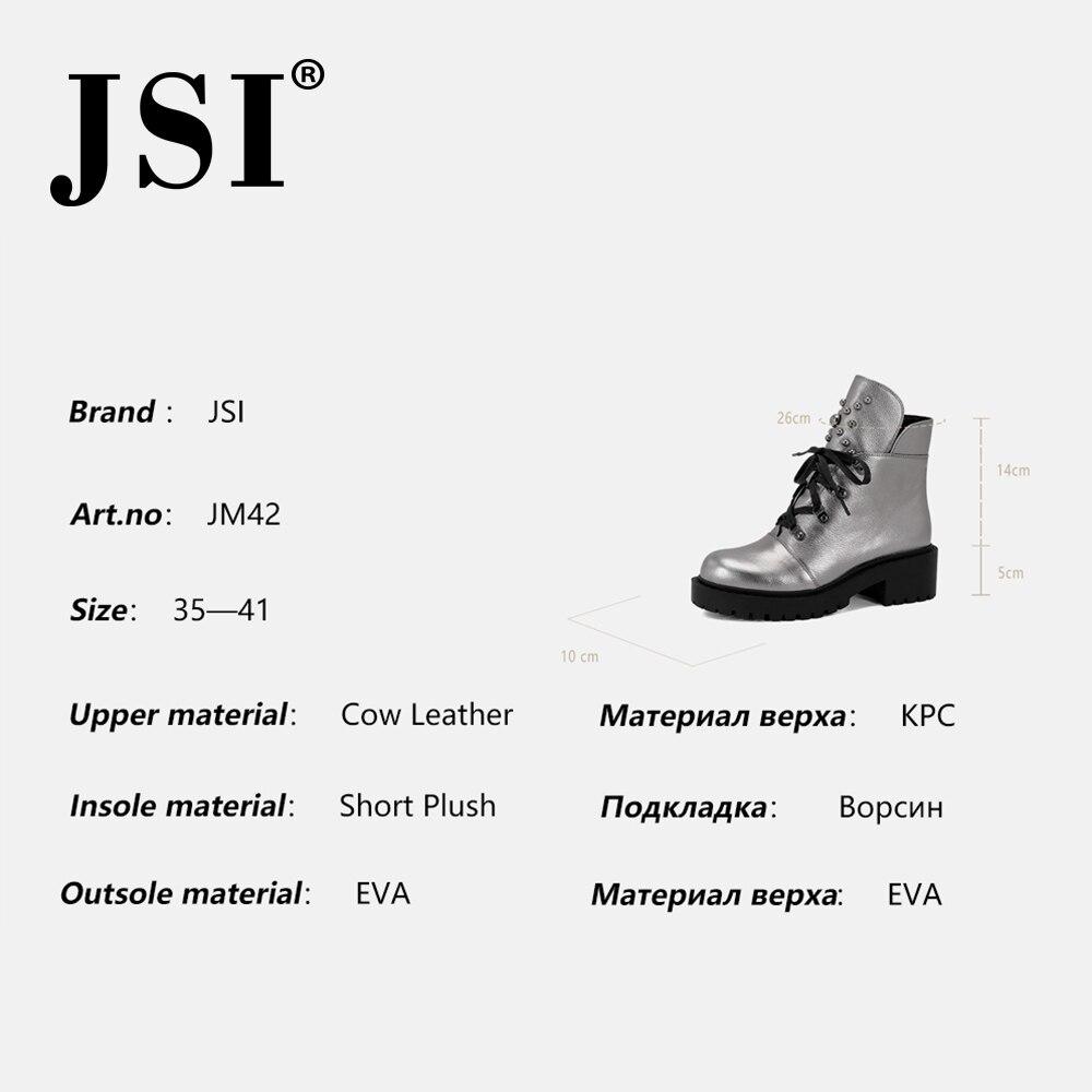 Jsi mulheres botas de tornozelo de couro genuíno nova venda quente sólida mid heel sapatos moda básica metal decoração dedo do pé redondo senhora botas jm42 - 6