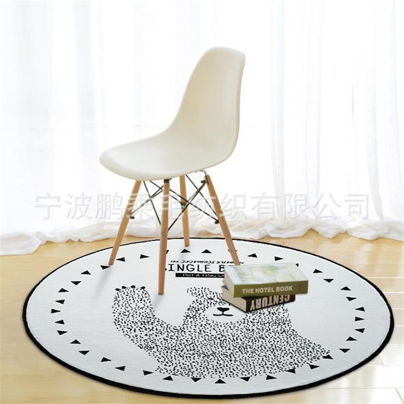 CUTE Round Black/White Bear Carpet Kids Room Computer Chair Area Rug  Creative Cloakroom Floor Mat Children Play Tent Carpets In Rug From Home U0026  Garden On ...
