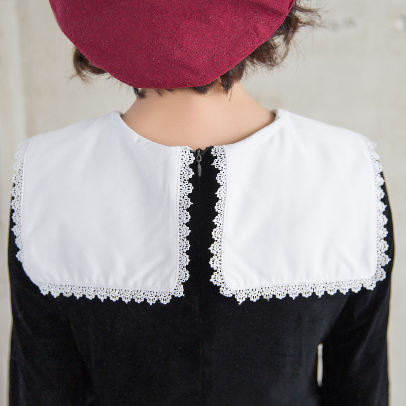 Cute Girl Delle Velluto A Black Gotico Lolita Maniche Partito Kawaii Little Giapponese Donne Lunghe Marinaio Di Del Harajuku Vestito Cosplay Dress Ep85nwx0q