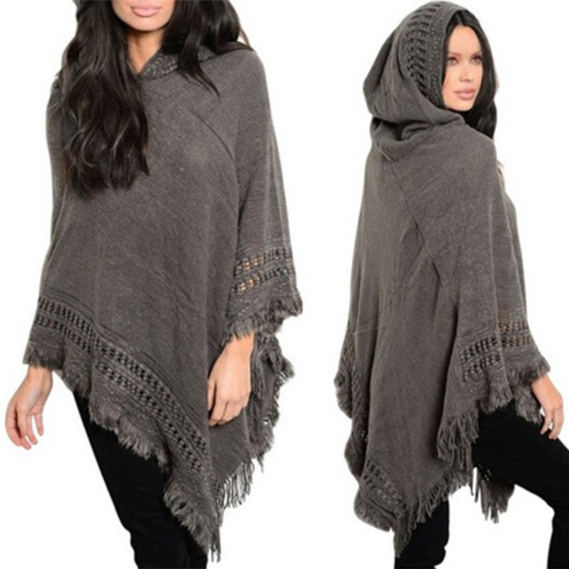 Girl Cloak Hooded Sweaters Knit Batwing Top Poncho With Hood Cape Coat Tassel Casual Sweater Outwear