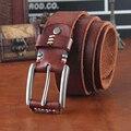 Men's Jeans Belt 100%Genuine leather belt buckle Double rotation pure head layer cowhide retro fashion belt jeans
