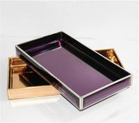 European metal glass tray decoration restaurant furnishings tea tray soft home decorations Trays