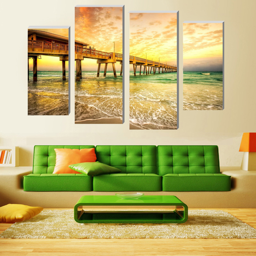 2017 Sale Fallout Modular Pictures Seaside Pier Wall Art Picture Living Room Or Bedroom Canvas Print Modern Home Decoration