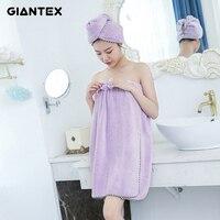 GIANTEX Women Bathroom Super Absorbent Quick Drying Microfiber Thick Bath Towel Bath Robe Hair Towel Set