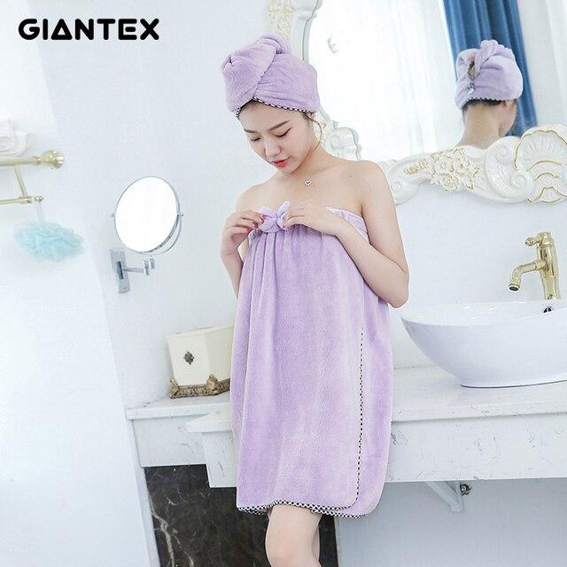 GIANTEX Women Bathroom Super Absorbent Quick-drying Microfiber Thick Bath Towel Bath Robe Hair Towel Set U1228