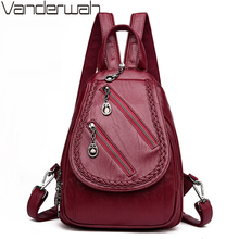 Fashion Double Zipper Women Backpack PU Leather 3-in-1 Backpack Female School Shoulder Chest Bags for Teenage Girls Sac A Dos