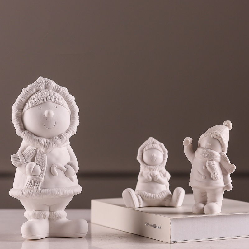 Simple Desktop Display White Ceramic Doll Statue Nordic Style Sculpture Home Decoration Accessories Christmas Gift 136