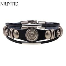 Фотография NIUYITID 20.5m Leather Men Bracelet Jewelry Anchor Bracelet Wristband Charm Braclet For Women Male Accessories