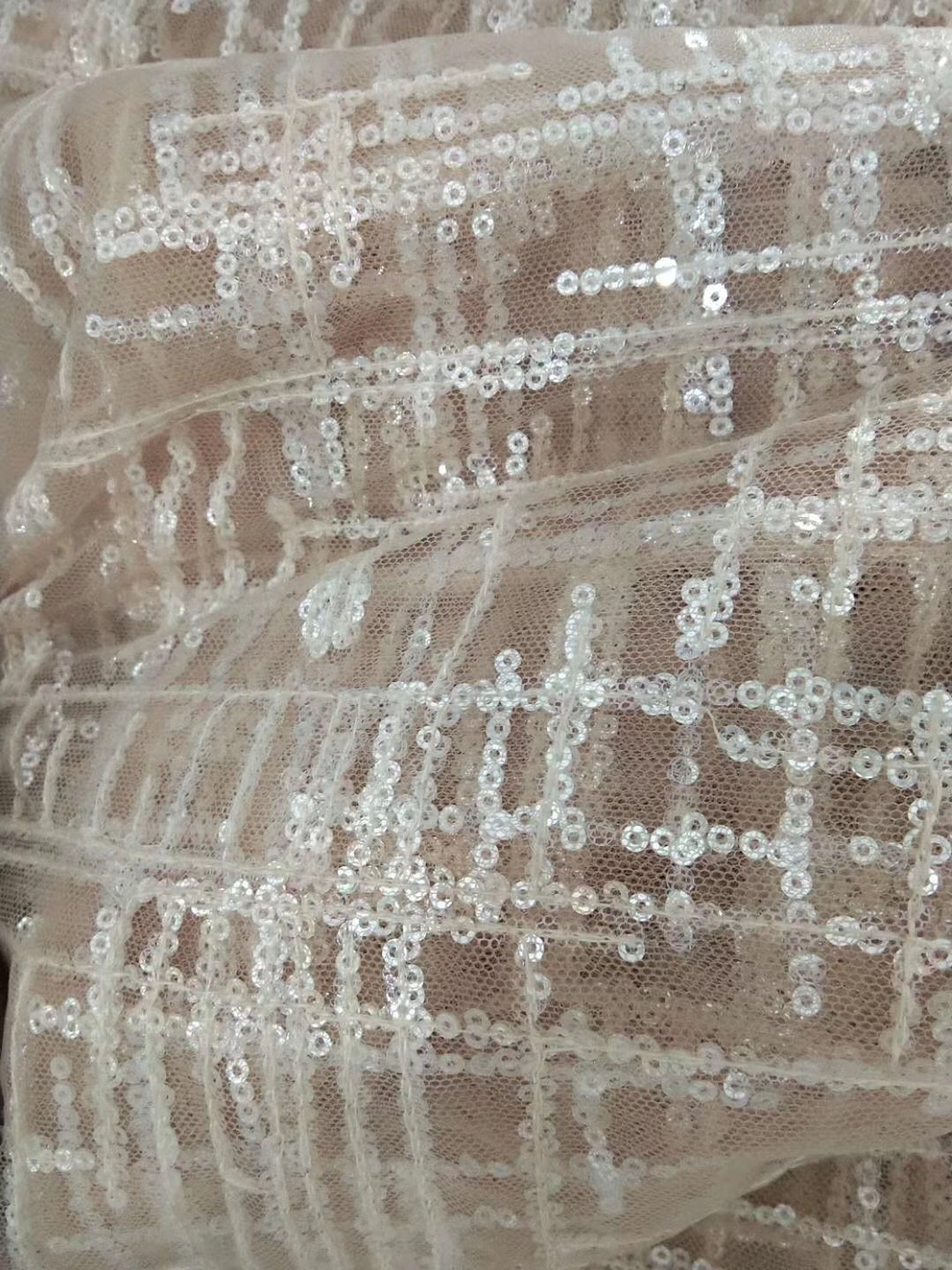 1 yard Sequin tulle grid lace fabric in pale pink for prom dress evening dress haute couture women dress fabric in Fabric from Home Garden