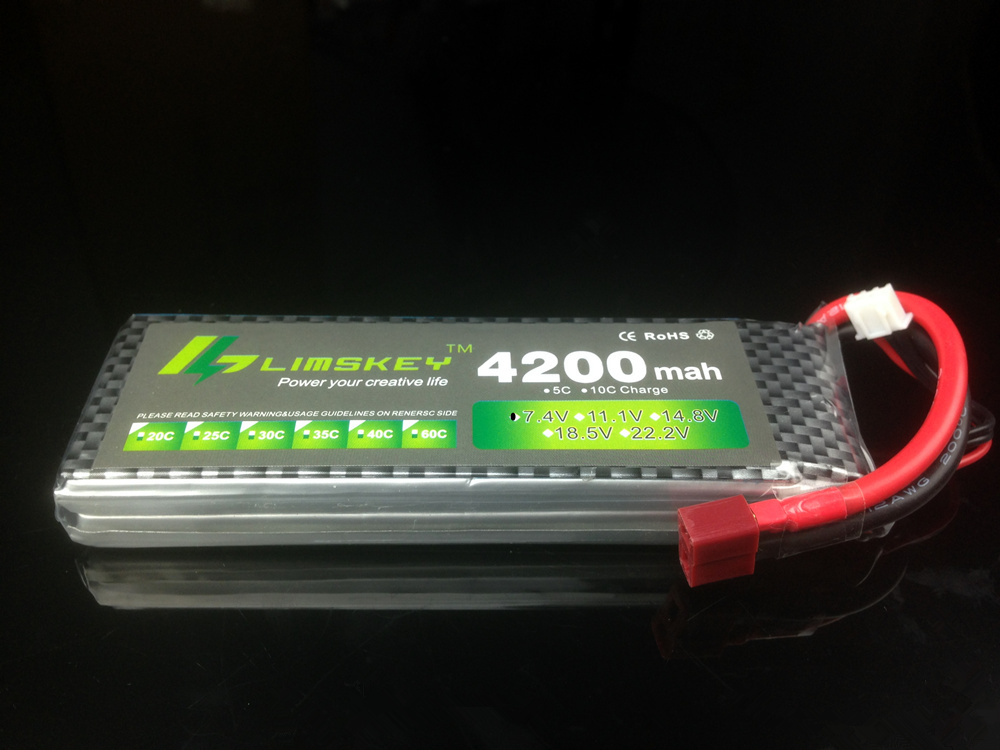 Limskey POWER 7.4V 4200mAh 25C 2S LiPo Battery With T/XT60 Plug for RC Car Airplane Helicopter 7.4 V 4200 mah 2S Lipo Battery