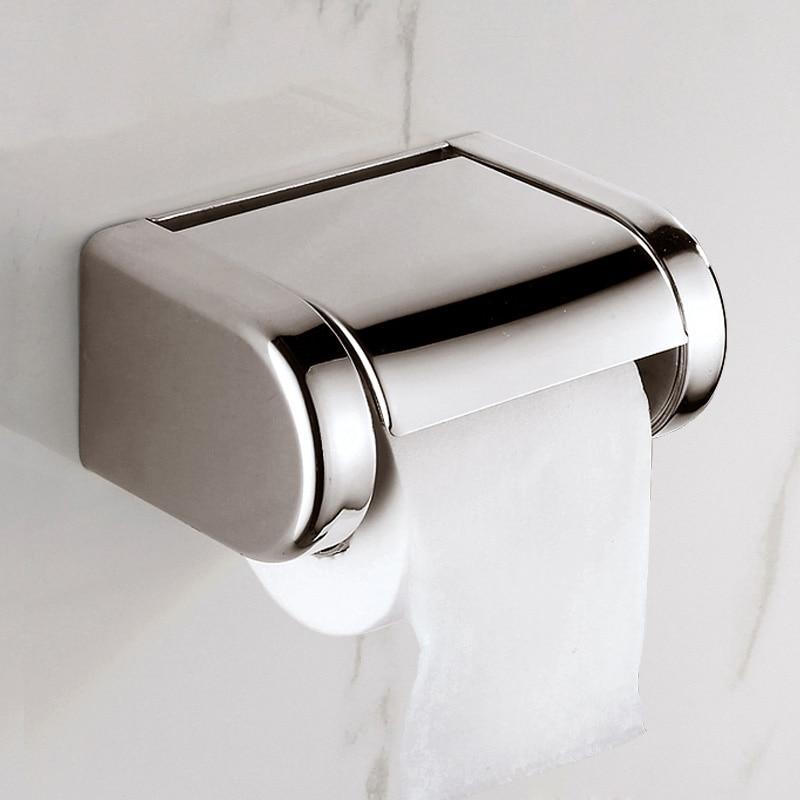 modern stainless steel wall mounted bathroom chrome toilet paper holder bathroom waterproof. Black Bedroom Furniture Sets. Home Design Ideas