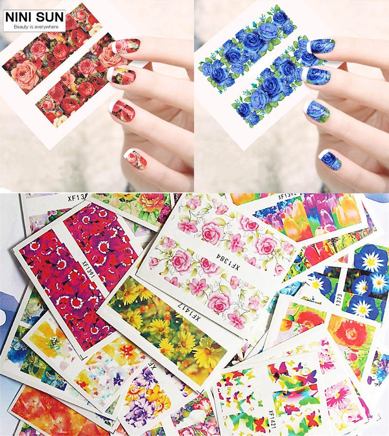 ▽50pcs/lot Flowers Water Transfer Nail Stickers Nail Decals DIY ...