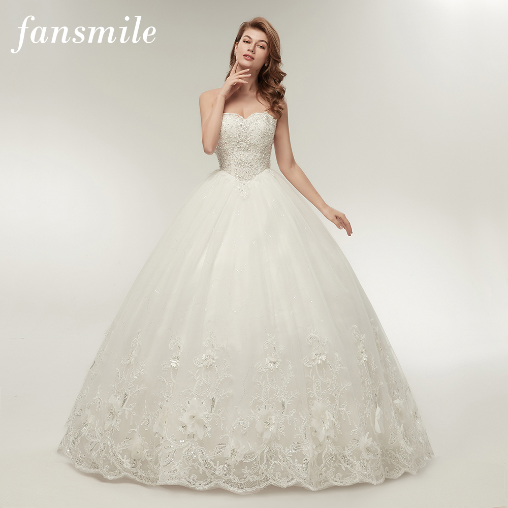 Fansmile High Quality See Through Lace Up Wedding Dresses 2020 Ball Gowns Vestidos De Novia Plus Size Customized Dress FSM-001F