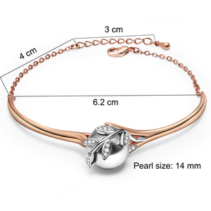 Image 3 - Świąteczny prezent dla mamy wielka wyprzedaż modny naszyjnik bransoletka kolczyki pierścionek różowe złoto szara perła modny liść zestaw biżuterii 4 sztuki