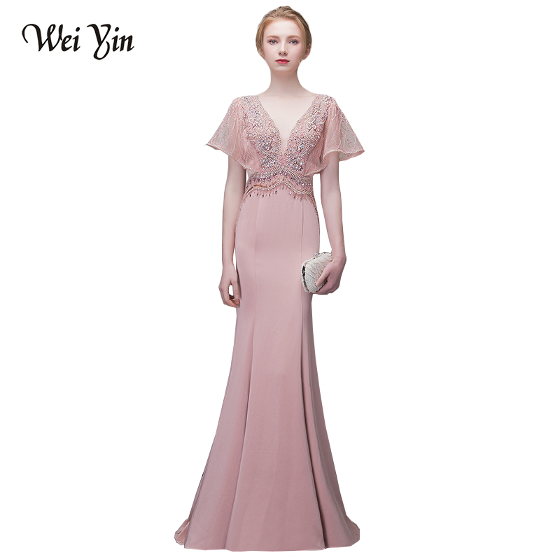 WEIYIN New Arrival Mermaid Evening Dress V Neck Pink Floor Length Formal Gowns Composite Silk Draped wedding formal party dress