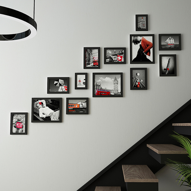 Wooden Frames For Pictures Stairway Hanging Wall Wood Picture Set Staircase Hangings Home Decorative Accessories