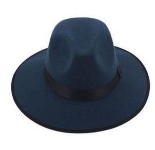 Модные Винтаж Для женщин шляпа с широкими полями ленты теплая шерсть Смеси фетровая шляпа котелок Fedora Кепки - Цвет: Blue2