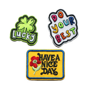 Embroidered Letters Sew Iron On Patches Rainbow Lucky Flowers Incentive Badges For Jeans Shirt DIY Appliques Decoration