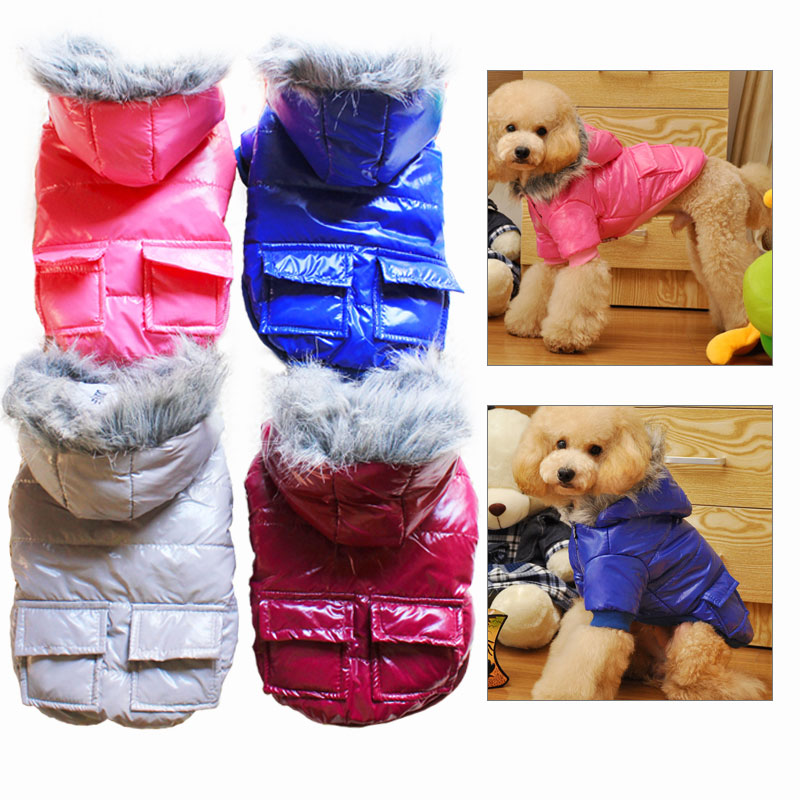 Fur Vest Coat Winter Dog Clothes For Yorkie Puppy Chihuahua Waterproof Dog Jackets Hoodies Pet Coat Costume Size S-XXL PT086