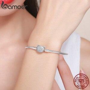 Image 5 - Женский браслет цепочка BAMOER, из 100% серебра с блестящим кубическим цирконием, с цепочкой в виде кошки, ювелирное изделие из стерлингового серебра SCB053