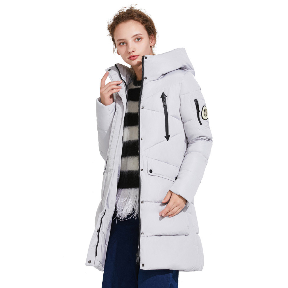 ICEbear 2017 Winter Women's Park Thick Warm Jacket with Long Sleeves Fashion Winter Coats with Hood for Leisure Coat 16G6155D pu leather spliced rib hem epaulet design stand collar long sleeves slimming jacket for men