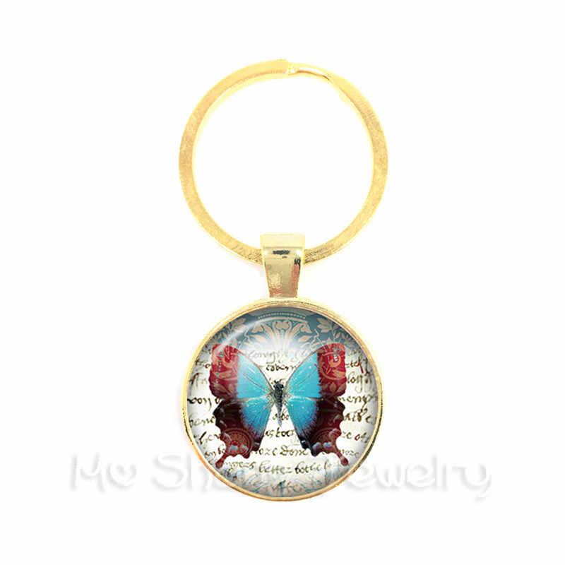 Бабочка узор стекло фото брелок с кабошоном часы стимпанк брелок стеклянный купол ювелирные изделия ручной работы оптовая продажа