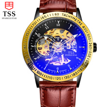 2016 TSS fashion Royal Design Black Gold Men Mechanical Watch Montre Homme Mens Watches Top Brand