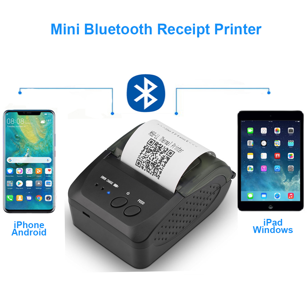 Mini Bluetooth Printer Thermal Printer Portable Receipt Machine USB Mobile Phone For Android iOS 58mmMini Bluetooth Printer Thermal Printer Portable Receipt Machine USB Mobile Phone For Android iOS 58mm