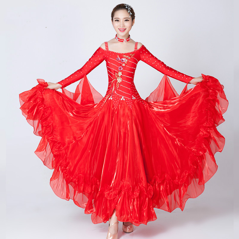 Novelty & Special Use Lady Ballroom Dance Skirt Female Modern Dance Suit Girls Sumba Rumba Dance Dance Costumes Practice Show Large Swing Skirt D-0050 High Quality