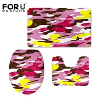 HUGSIDEA Colorful Camouflage Print Toilet Seat Cover Mat Warmer Soft Bathroom Area Rug Slip Resistance Carpet