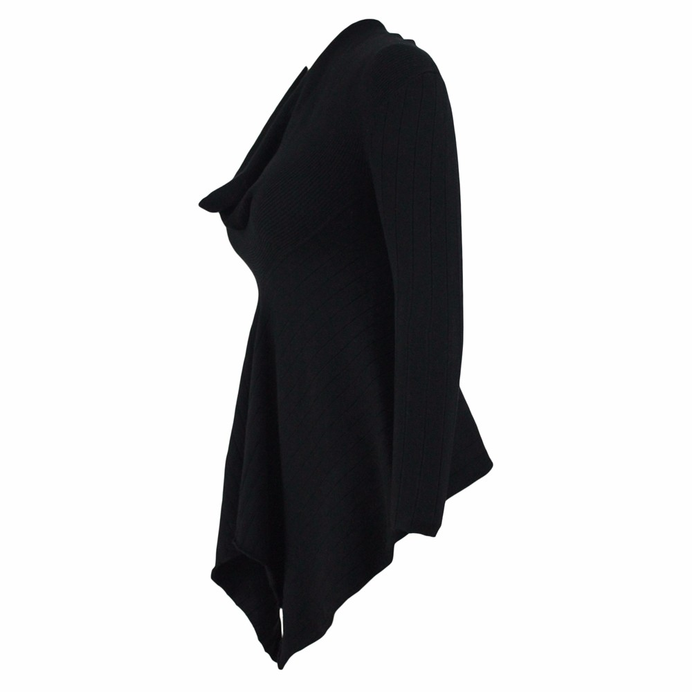 Black-Irregular-Hemline-Cowl-Neck-Sweater-LC27631-2-3
