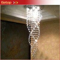 Meilleur prix K9 lustres en cristal Duplex escalier cristal plafond à LED lampe Triple spirale lustres de cristal pendentes