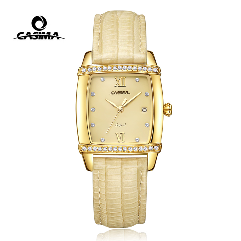 CASIMA Women Watches Waterproof Fashion Gold Charm Rectangle Ladies Quartz Wrist Watch Clock Leather Strap Saat Relogio Feminino casima women watches waterproof fashion ladies leather rhinestone gold quartz wrist watch clock woman 2018 saat relogio feminino