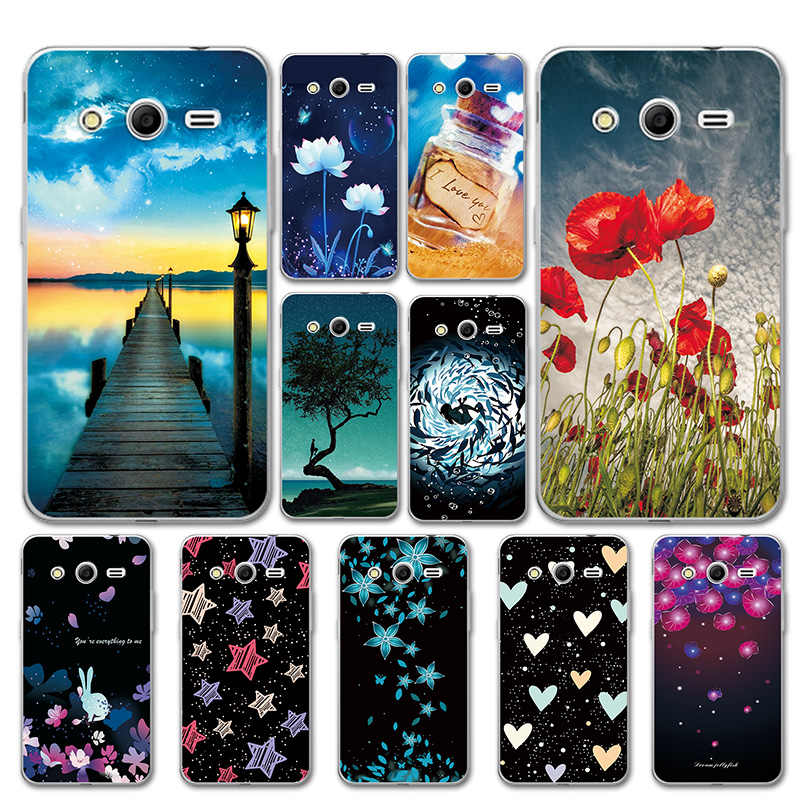 Silicone Case For Samsung Galaxy Core 2 Duos SM-G355H Pretty Sky Cover Love Heart Phone Bags For Samsung G355H 4.5'' Cases