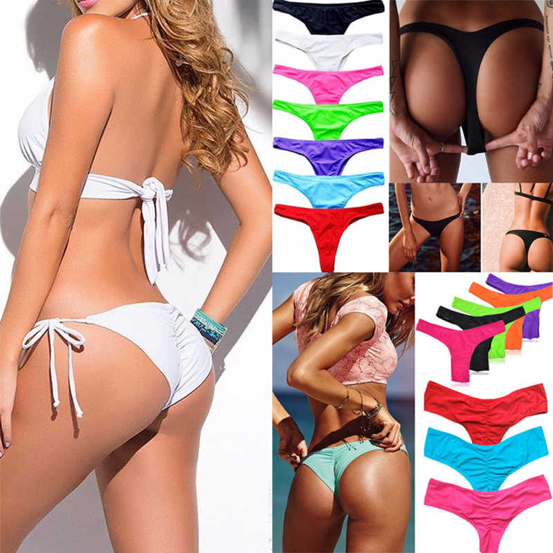 757419a6db6e4 Sexy Women Brazilian Bikini Swimwear Bathing Beach Thong Ruched Scrunch  Bottom Plus Size Beachwear Tie Side