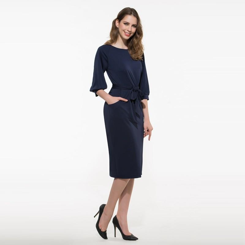 ba319a7baf31 ... solid women work dress royal blue knee-length dresses o-neck office.  causal dress. 4dfafd56-deac-4243-85cd-dce759daa02f ...