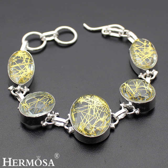 Hermosa Jewelry Charming Fashion Gold hair crystal 925 Sterling Silver Bracelets 6 inches Adjustable HM366