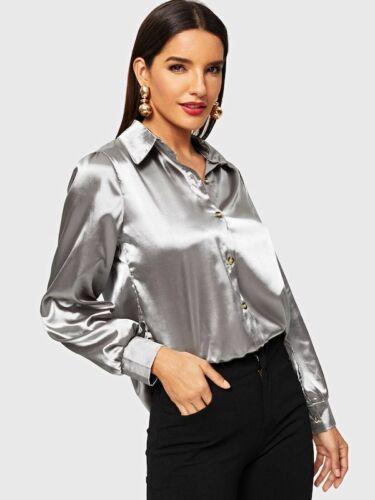 Fashion Elegant Women Office Ladies Loose Long Sleeve Silk Satin Casual Solid Silver   Blouse     Shirt   Tops