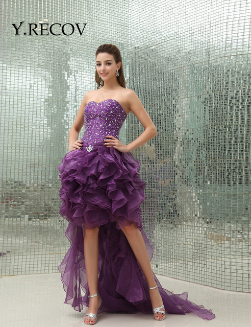 Sparkly Prom Dresses Yd2210 Ruffle Organza Purple High Low Crystal