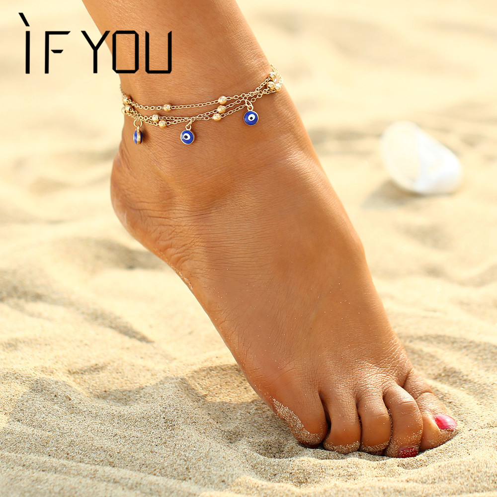 IF YOU Bohemian Sandals Pulseras Tobilleras Single Eye Beads Foot Ankle Jewelry Beach Ankle Bracelet Anklets for Women Jewelry