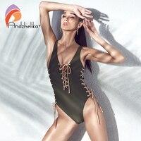 Andzhelika One Piece Swimsuit New Women Sexy Bandage Halter Swimwear Brazilian Bodysuit Vintage Bathing Suit Monokini
