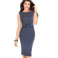 Aamikast dark blue ropa de primavera nuevas mujeres vestidos sin mangas elegante del partido de tarde ocasional polka dot tamaño sml xl