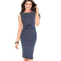 Dark Blue Garment Spring New Women Casual Dresses Sleeveless Elegant Party Evening Polka Dot Size S