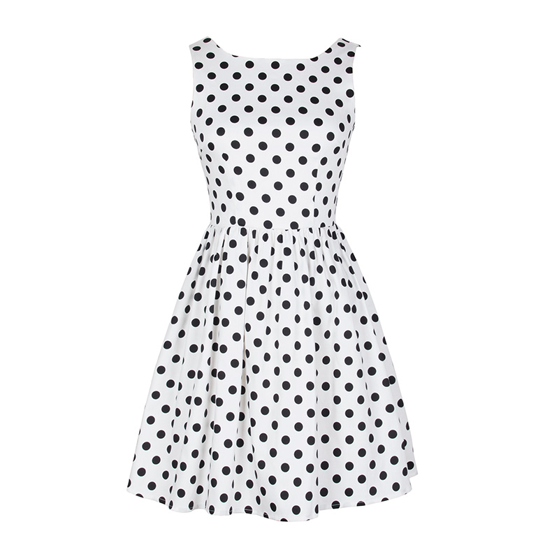 Delicate White Dress with Black Polka Dots Plus Size Flare