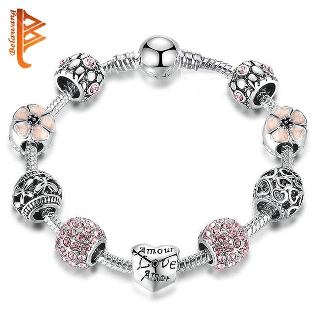 8559815c0 BELAWANG Fashion 925 Silver Charm Bracelet & Bangle Wedding Love and Flower  Crystal Beads Bracelets for