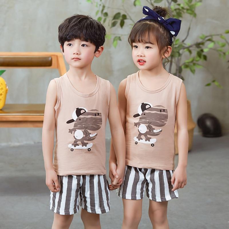 Summer Girl Boys   Pajamas     Sets   Children's Clothing Suits Vest+Pants Sleepwear 100% Cotton Cartoon Pyjamas Kids Pijamas Nightwear