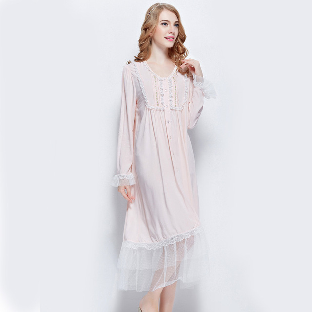 New Arrival Autumn Women\'s Pink Pure Cotton Gowns Lady Vintage ...